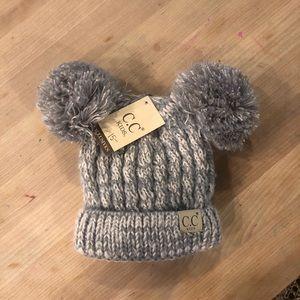 Kid's NWT CC Beanie Double Pompom Hat